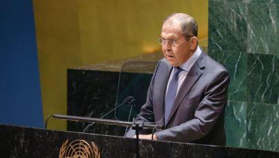 Министр иностранных дел РФ Сергей Лавров во время выступления на общеполитической дискуссиии в рамках 76-й сессии Генеральной Ассамблеи Организации Объединенных Наций (ООН) в Нью-Йорке