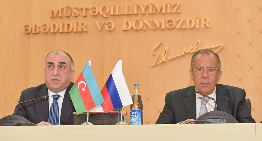 Пресс-конференция глав МИД Азербайджана и РФ Эльмара Мамедъярова и Сергея Лаврова. Баку, 12 июля 2016 года