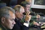 Putin hərbi məntəqədə müşahidə aparır
