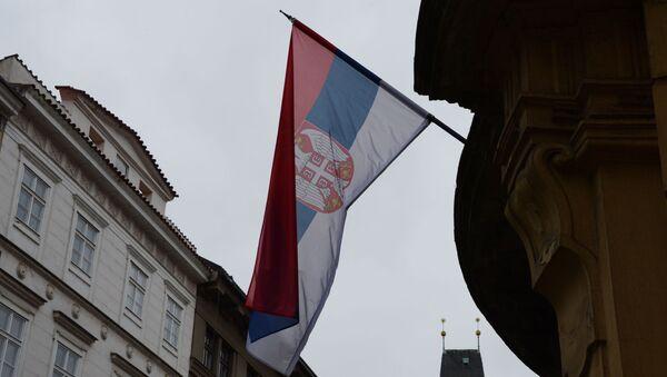 Государственный флаг Сербии на здании - Sputnik Азербайджан