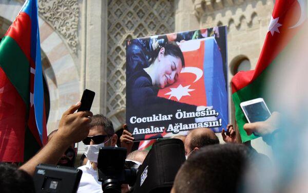 Акция в поддержку Азербайджана в Стамбуле - Sputnik Азербайджан