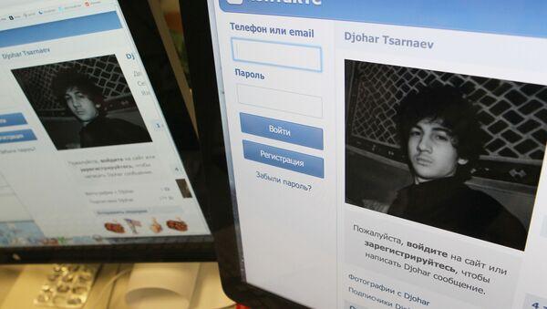 Страничка Джохара Царнаева, подозреваемого в подрыве бомбы во время марафона в американском городе Бостон, в российской социальной сети ВКонтакте. - Sputnik Azərbaycan