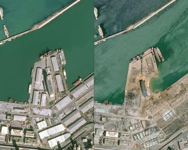 Вид со спутника порта в Бейруте до и после взрыва - Sputnik Азербайджан