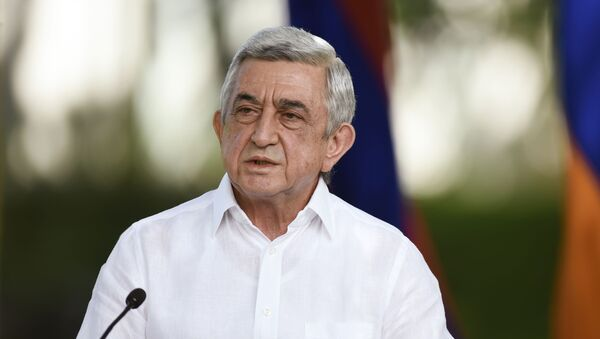 Экс-президент Армении Серж Саргсян во время пресс-конференции, фото из архива - Sputnik Azərbaycan