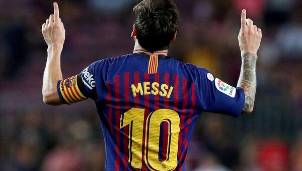 Игрок ФК Барселона Лионель Месси во время празднования гола  - Sputnik Azərbaycan