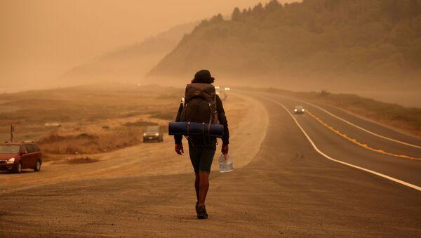 Мужчина на шоссе у Тихого океана, Калифорния - Sputnik Azərbaycan