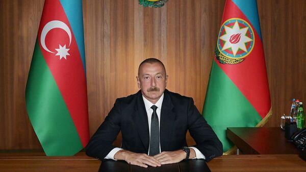 İlham Əliyev BMT Baş Assambleyasının 75-ci Sessiyasında çıxışı zamanı - Sputnik Азербайджан
