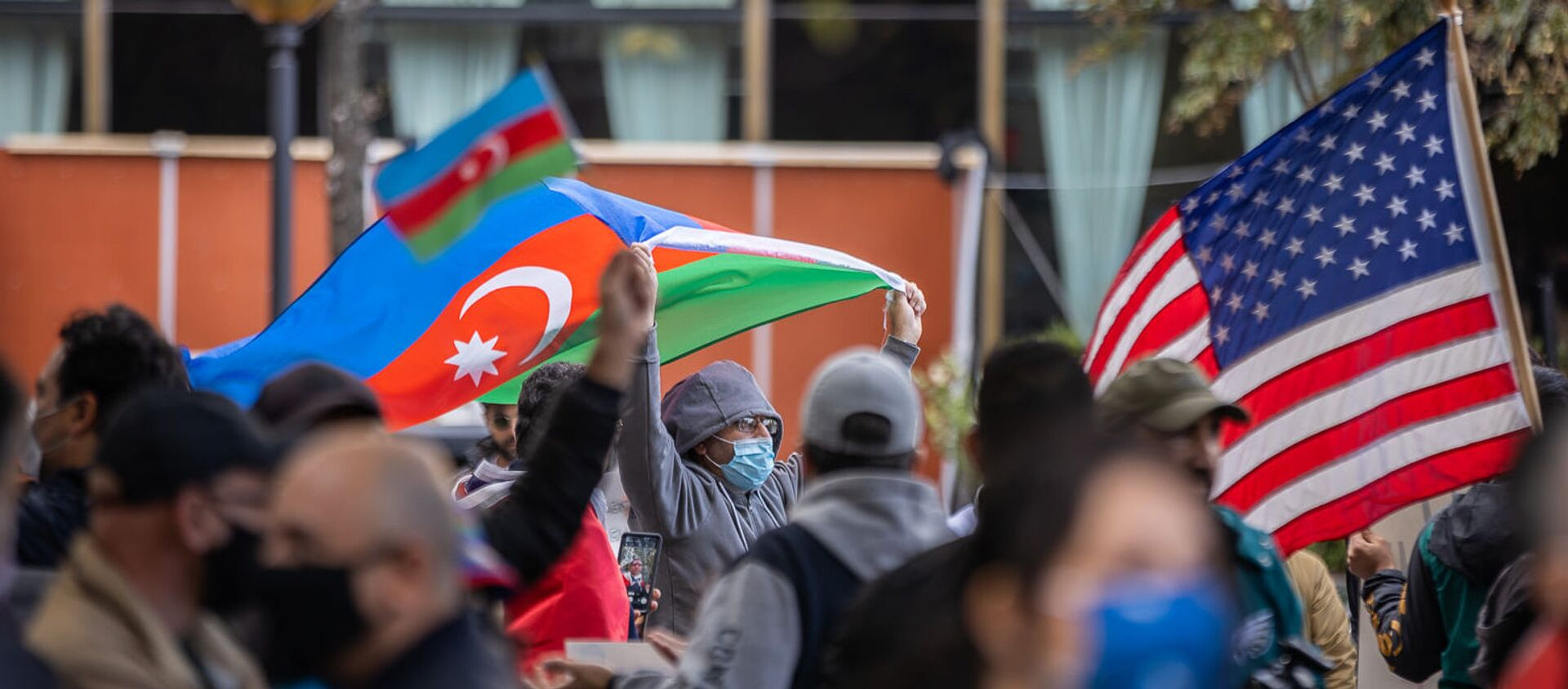 Акция в поддержку Азербайджана в Нью Йорке - Sputnik Азербайджан, 1920, 22.01.2021