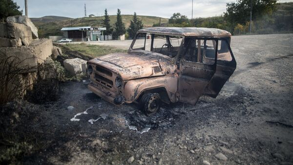 Уничтоженная техника ВС Армении, фото из архива - Sputnik Azərbaycan