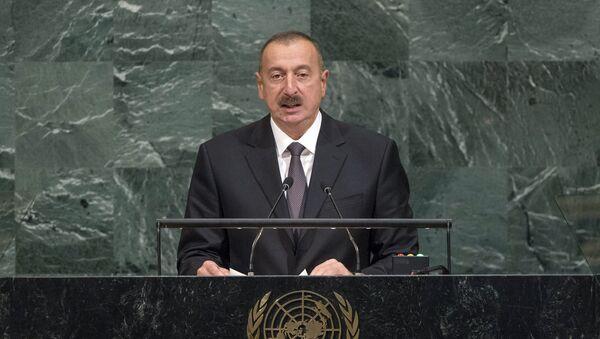 Prezident İlham Əliyev BMT-nin Baş Assambleyasında çıxışı zamanı - Sputnik Azərbaycan