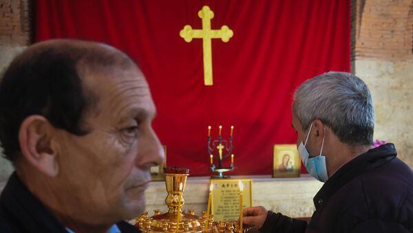 Открытие удинской церкви в селе Нидж Габалинского района Азербайджана - Sputnik Азербайджан