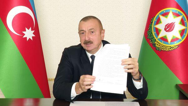 Президент Ильхам Алиев во время обращения к народу - Sputnik Azərbaycan