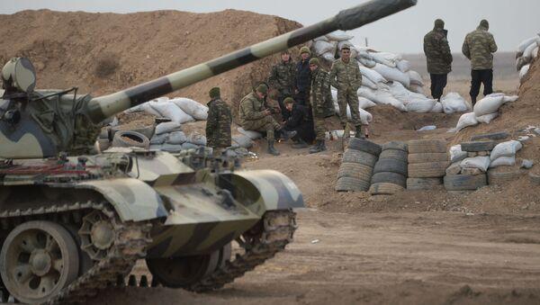 Azərbaycanın T-55 tankları Ağdamda - Sputnik Азербайджан