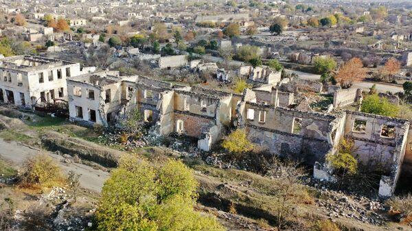 Вид на разрушенный город Агдам с высоты птичьего полета - Sputnik Азербайджан