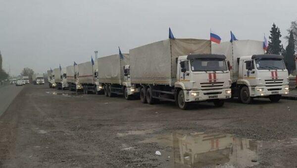 Rusiya Fövqəladə Hallar Nazirliyinin göndərdiyi humanitar yardımı - Sputnik Азербайджан