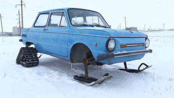 Как умельцы сделали снегоход из Запорожца   - Sputnik Азербайджан