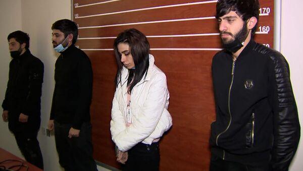 Задержанная банда из четырех человек: Васифа Байрамова, Суата Алиева, Рамиля Новрузова и Назрин Алиевой - Sputnik Азербайджан