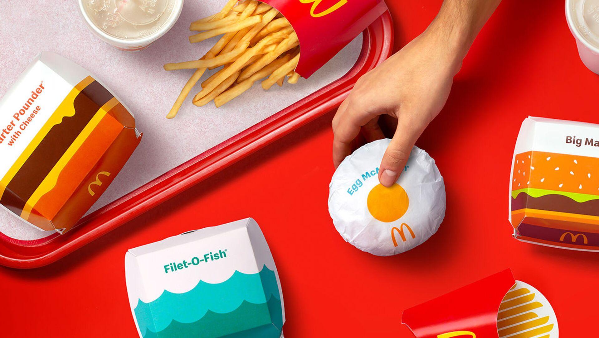 McDonald's впервые за 5 лет представил новый дизайн упаковок - Sputnik Азербайджан, 1920, 23.02.2021