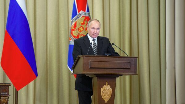 Президент РФ В. Путин принял участие в заседании коллегии ФСБ РФ - Sputnik Azərbaycan