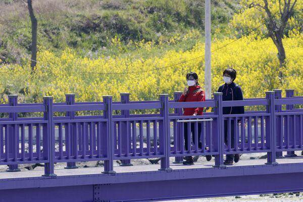 Туристы идут по пурпурному мосту , соединяющему острова Банвол и Паркджи, в провинции Южная Чолла в Южной Корее. - Sputnik Азербайджан