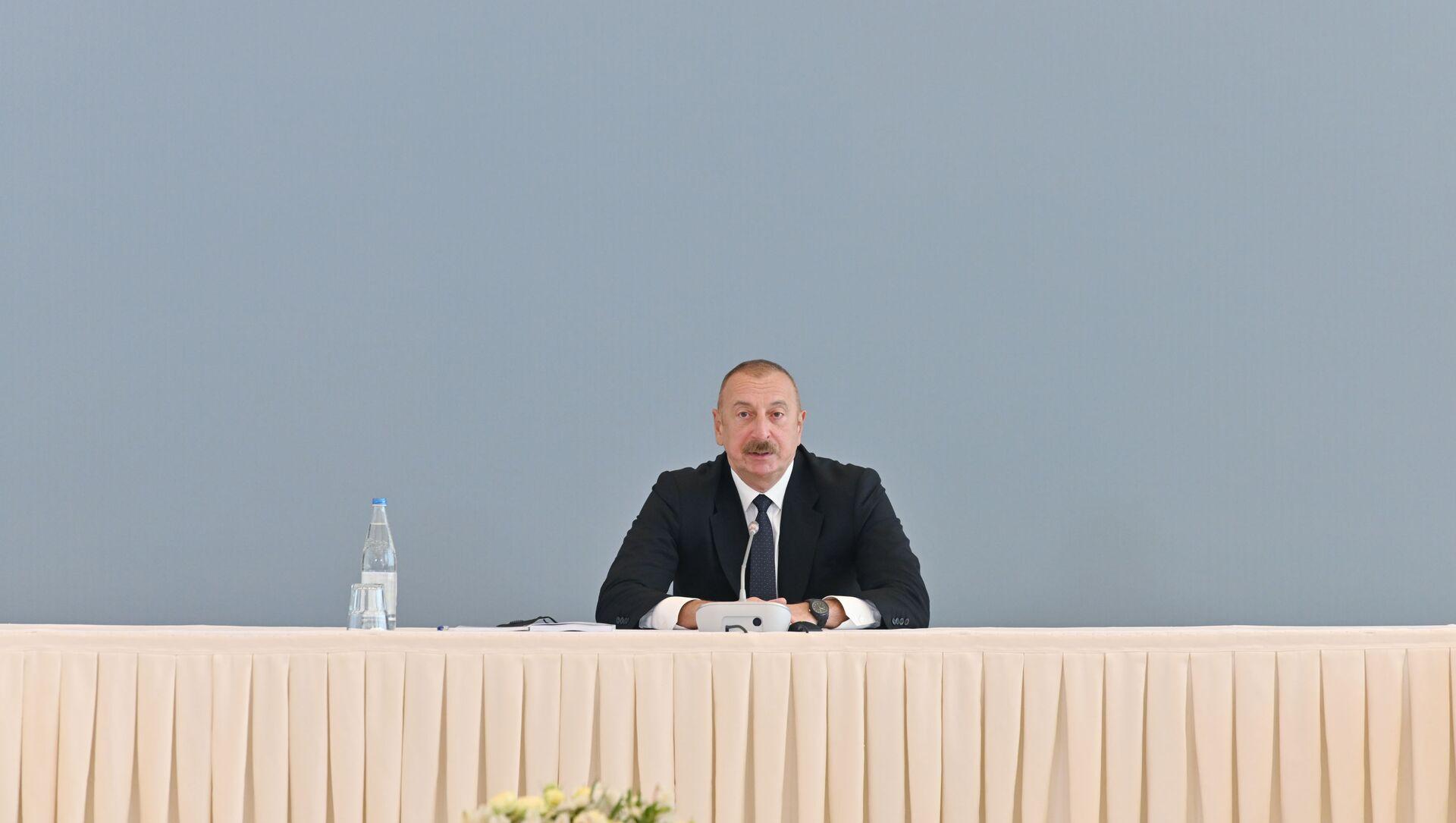 Президент Азербайджанской Республики Ильхам Алиев принимает участие в конференции под названием «Новый взгляд на Южный Кавказ: постконфликтное развитие и сотрудничество» - Sputnik Азербайджан, 1920, 13.04.2021