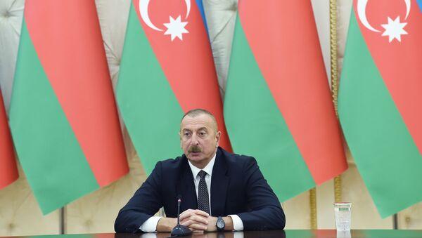 Президент Азербайджанской Республики Ильхам Алиев и Президент Беларуси Александр Лукашенко выступили с заявлениями для прессы - Sputnik Azərbaycan