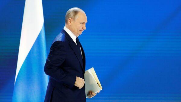 Президент РФ Владимир Путин выступает с ежегодным посланием Федеральному Собранию - Sputnik Азербайджан