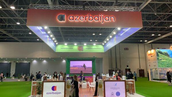 """""""ATM 2021"""" (Arabian Travel Market 2021) beynəlxalq turizm sərgisində Azərbaycana aid stend - Sputnik Азербайджан"""