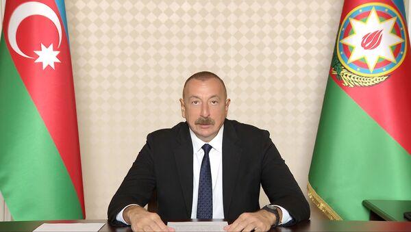 Президент Азербайджаyf Ильхам Алиев выступил в видеоформате на 74-й сессии Всемирной ассамблеи здравоохранения - Sputnik Азербайджан