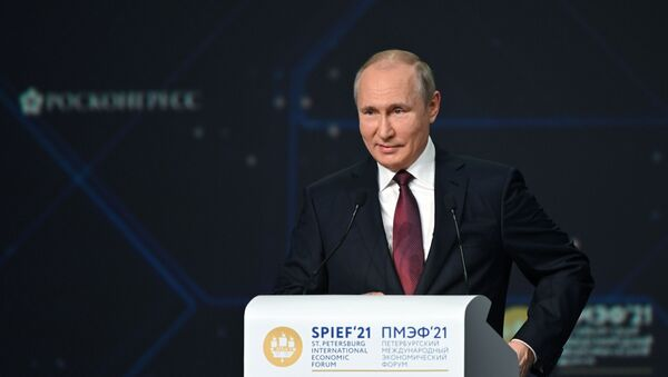 Президент РФ В. Путин принял участие в мероприятиях Петербургского международного экономического форума - Sputnik Azərbaycan