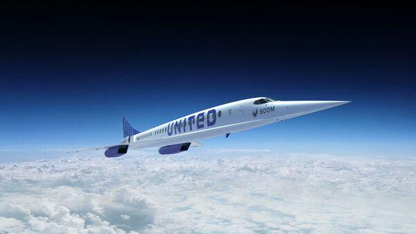 Релиз сверхзвукового самолета Boom Overture с логотипом авиакомпании United Airlines  - Sputnik Азербайджан