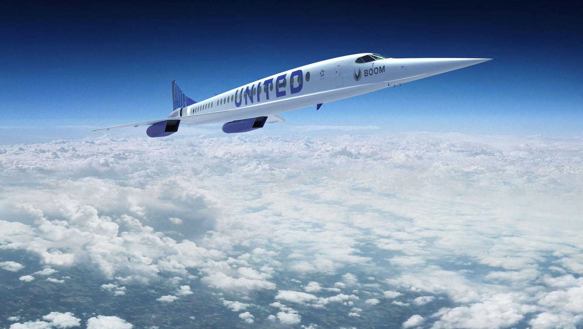 Релиз сверхзвукового самолета Boom Overture с логотипом авиакомпании United Airlines  - Sputnik Азербайджан, 1920, 08.06.2021