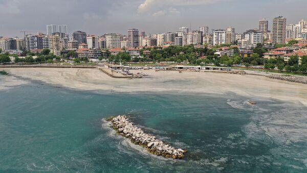 Вид с воздуха на место очистки моря от слизи в Турции  - Sputnik Азербайджан