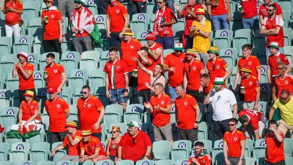 Болельщики на трибунах Бакинского олимпийского стадиона во время матча между сборными Швейцарии и Уэльса - Sputnik Азербайджан