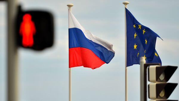 Флаги России и ЕС на набережной Ниццы - Sputnik Азербайджан
