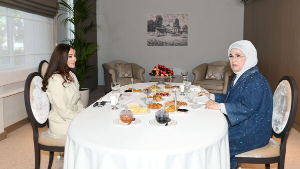 Встреча Первой леди Азербайджана Мехрибан Алиевой и Первой леди Турции Эмине Эрдоган, фото из архива - Sputnik Азербайджан