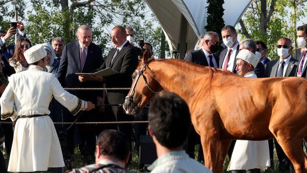 Президенты Ильхам Алиев и Реджеп Тайип Эрдоган с супругами присутствовали на показе композиции Музыкальное наследие и карабахские кони на Джыдыр дюзю, 15 июня 2021 года - Sputnik Азербайджан