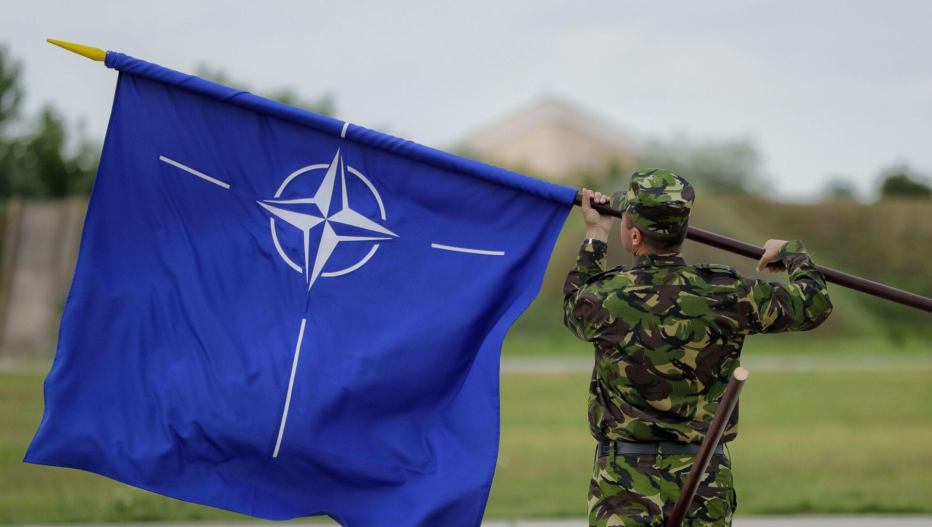 Мужчина с флагом НАТО, фото из архива - Sputnik Азербайджан, 1920, 03.09.2021