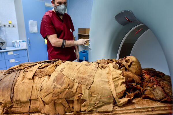 Ученый во время сканирования египетской мумии в Милане  - Sputnik Азербайджан