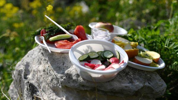 Пластиковая посуда используется во время пикника. - Sputnik Азербайджан