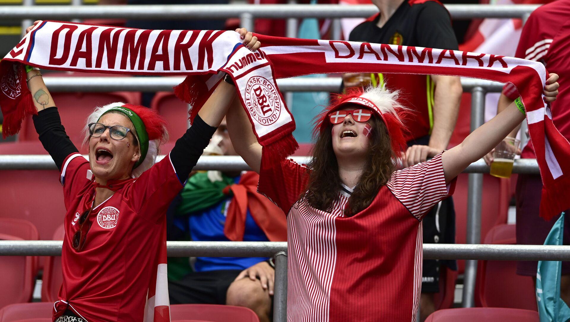 Болельщицы сборной Дании на ЕВРО-2020 - Sputnik Азербайджан, 1920, 01.07.2021