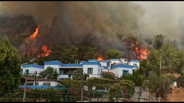 Трагедия в Турции: пожары вплотную подошли к жилым домам - Sputnik Азербайджан