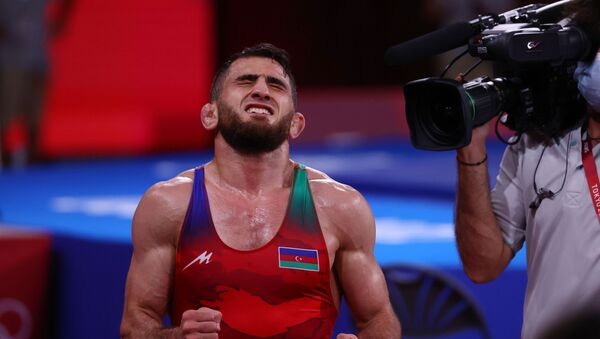 Азербайджанский борец Гаджи Алиев на Олимпийских играх в Токио - Sputnik Azərbaycan