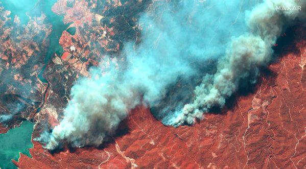 Снимок со спутника природных пожаров в Турции  - Sputnik Азербайджан