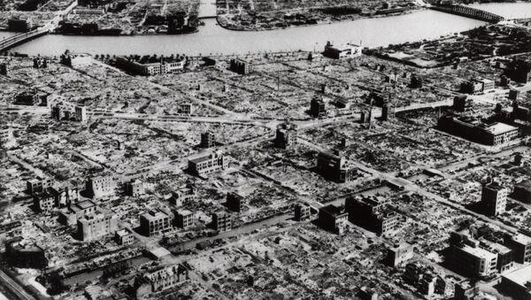 Вид на разрушенный японский город Нагасаки, фото из архива - Sputnik Azərbaycan
