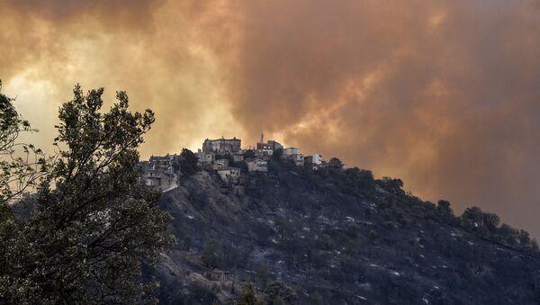 Дым от лесного пожара поднимается на холмах региона Кабилии, Алжир - Sputnik Азербайджан