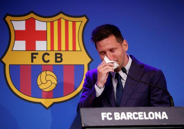 Lionel Messi mətbuat konfransı zamanı. - Sputnik Azərbaycan