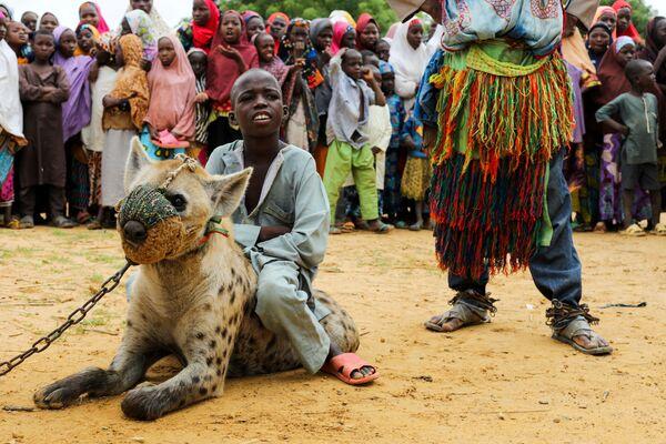 Nigeriyanın şimalındakı Kano ştatında oğlan kaftarın üstündə oturub. - Sputnik Azərbaycan
