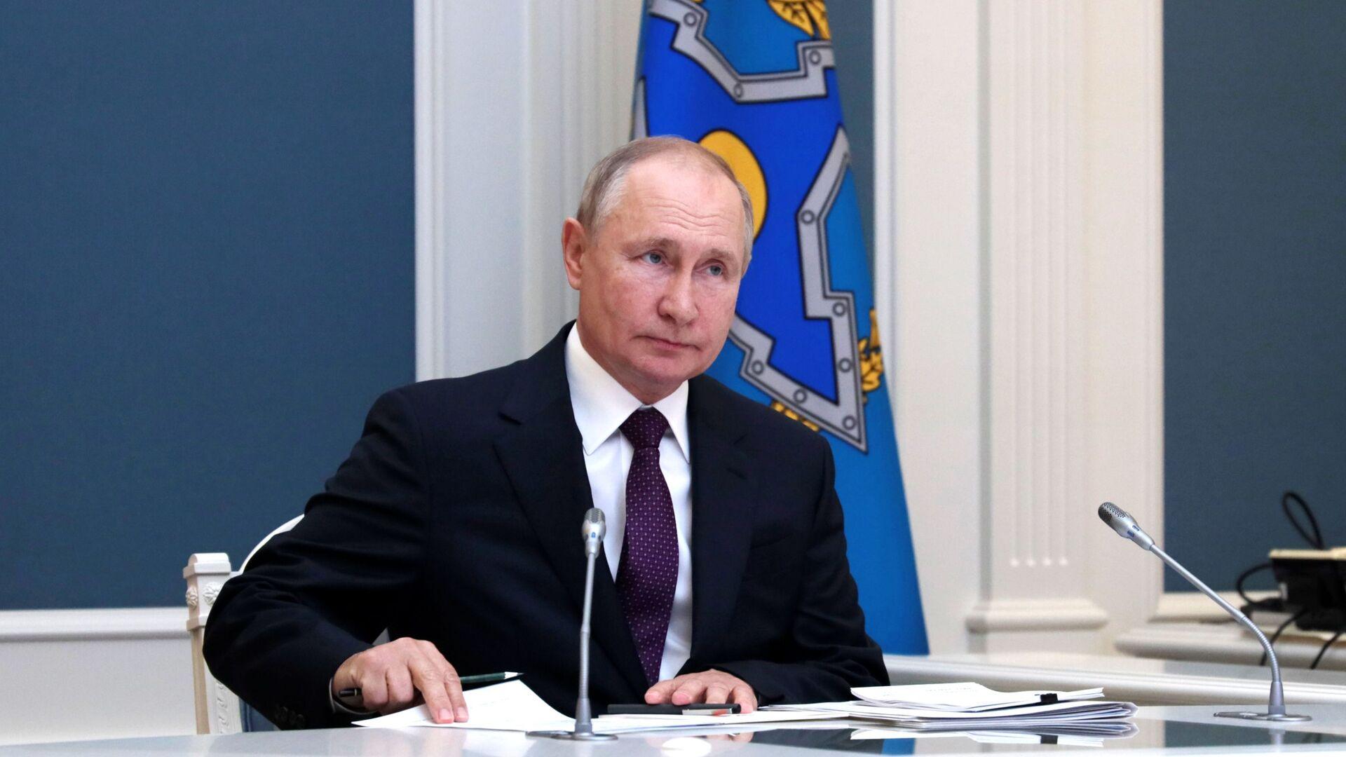 Президент РФ В. Путин принял участие во внеочередной сессии Совета коллективной безопасности ОДКБ - Sputnik Azərbaycan, 1920, 11.09.2021
