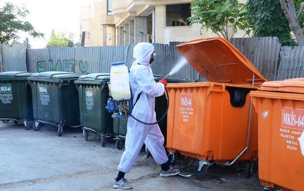 Bakıda küçələrin dezinfeksiyası - Sputnik Азербайджан